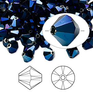 bead, swarovski crystals, crystal metallic blue 2x, 6mm xilion bicone (5328). sold per pkg of 360.