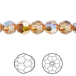 bead, swarovski crystals, crystal metallic sunshine, 8mm faceted round (5000). sold per pkg of 288 (2 gross).