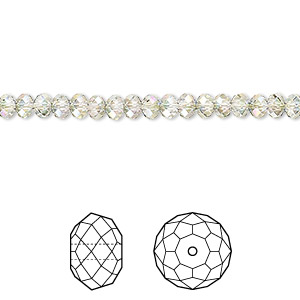 bead, swarovski crystals, crystal paradise shine, 4x3mm faceted rondelle (5040). sold per pkg of 720 (5 gross).