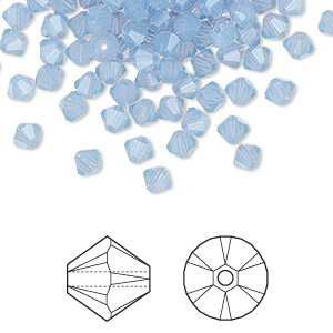 bead, swarovski crystals, crystal passions, air blue opal, 4mm xilion bicone (5328). sold per pkg of 144 (1 gross).