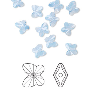 bead, swarovski crystals, crystal passions, air blue opal, 6x5mm faceted butterfly (5754). sold per pkg of 144 (1 gross).