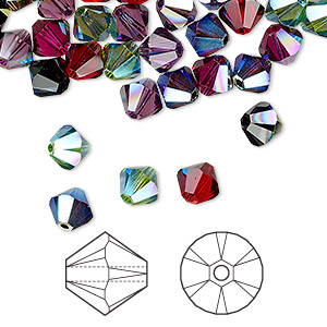 bead, swarovski crystals, crystal passions, alchemy, 6mm xilion bicone (5328). sold per pkg of 24.