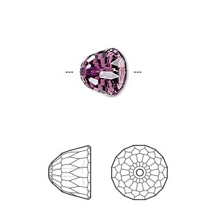 bead, swarovski crystals, crystal passions, amethyst, 10x8mm faceted dome small (5542). sold per pkg of 6.