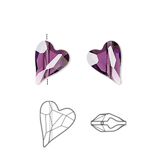 bead, swarovski crystals, crystal passions, amethyst, 12x10mm diagonally drilled left- and right-facing faceted wild heart (5743). sold per pkg of 2.