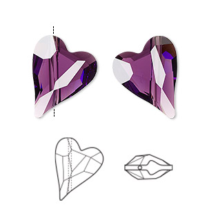 bead, swarovski crystals, crystal passions, amethyst, 17x13mm diagonally drilled left- and right-facing faceted wild heart (5743). sold per pkg of 2.