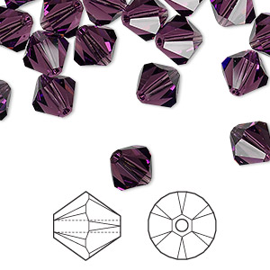 bead, swarovski crystals, crystal passions, amethyst, 8mm xilion bicone (5328). sold per pkg of 12.