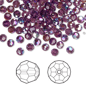 bead, swarovski crystals, crystal passions, amethyst ab, 4mm faceted round (5000). sold per pkg of 144 (1 gross).