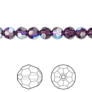 bead, swarovski crystals, crystal passions, amethyst ab, 6mm faceted round (5000). sold per pkg of 12.
