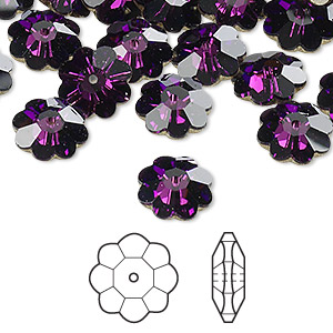 bead, swarovski crystals, crystal passions, amethyst, foil back, 10x3.5mm faceted marguerite lochrose flower (3700). sold per pkg of 144 (1 gross).