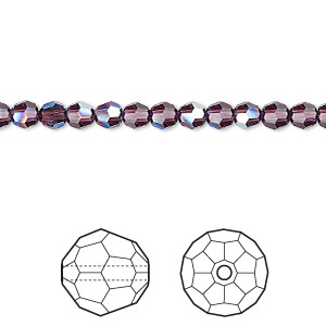 bead, swarovski crystals, crystal passions, amethyst moonlight, 4mm faceted round with 0.9mm hole (5000). sold per pkg of 12.