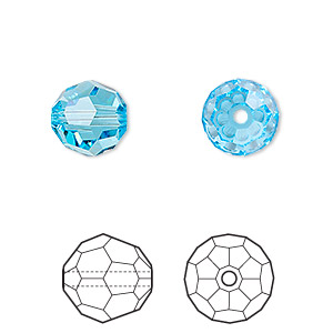 bead, swarovski crystals, crystal passions, aquamarine, 10mm faceted round (5000). sold per pkg of 2.