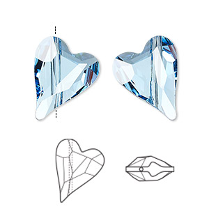 bead, swarovski crystals, crystal passions, aquamarine, 17x13mm diagonally drilled faceted wild heart (5743). sold per pkg of 12.