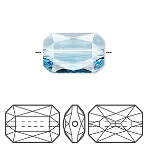 bead, swarovski crystals, crystal passions, aquamarine, 18x12.5mm faceted emerald cut (5515). sold individually.