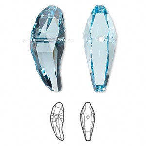 bead, swarovski crystals, crystal passions, aquamarine, 28x10.5mm faceted aquiline (5530). sold individually.