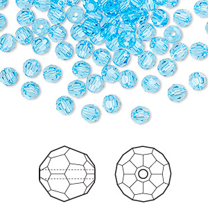 bead, swarovski crystals, crystal passions, aquamarine, 4mm faceted round (5000). sold per pkg of 144 (1 gross).