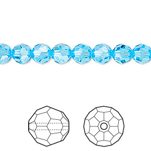 bead, swarovski crystals, crystal passions, aquamarine, 6mm faceted round (5000). sold per pkg of 12.