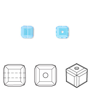 bead, swarovski crystals, crystal passions, aquamarine, 6x6mm faceted cube (5601). sold per pkg of 6.