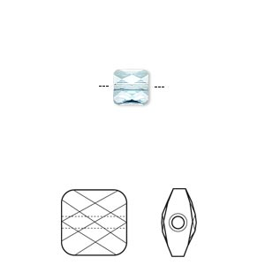 bead, swarovski crystals, crystal passions, aquamarine, 6x6mm faceted mini square (5053). sold per pkg of 24.