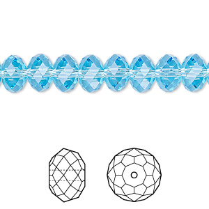 bead, swarovski crystals, crystal passions, aquamarine, 8x6mm faceted rondelle (5040). sold per pkg of 12.