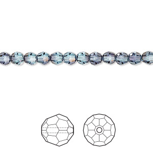 bead, swarovski crystals, crystal passions, aquamarine antique pink, 4mm faceted round with 0.8mm hole (5000). sold per pkg of 12.