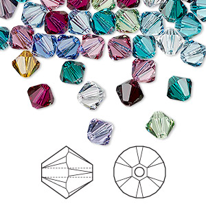 bead, swarovski crystals, crystal passions, birthstone, 6mm xilion bicone (5328). sold per pkg of 144 (1 gross).