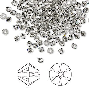 bead, swarovski crystals, crystal passions, black diamond, 3mm xilion bicone (5328). sold per pkg of 144 (1 gross).