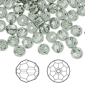 bead, swarovski crystals, crystal passions, black diamond, 6mm faceted round (5000). sold per pkg of 144 (1 gross).