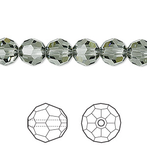 bead, swarovski crystals, crystal passions, black diamond, 8mm faceted round (5000). sold per pkg of 12.