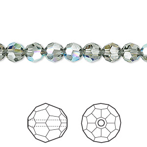 bead, swarovski crystals, crystal passions, black diamond ab, 6mm faceted round (5000). sold per pkg of 12.