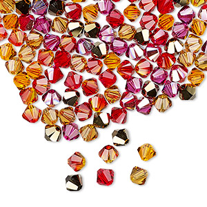 bead, swarovski crystals, crystal passions, blaze, 4mm xilion bicone (5328). sold per pkg of 48.