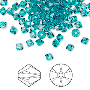 bead, swarovski crystals, crystal passions, blue zircon, 4mm xilion bicone (5328). sold per pkg of 48.