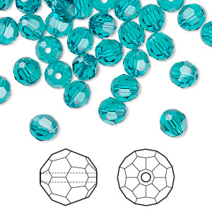 bead, swarovski crystals, crystal passions, blue zircon, 6mm faceted round (5000). sold per pkg of 144 (1 gross).