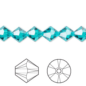 bead, swarovski crystals, crystal passions, blue zircon, 8mm xilion bicone (5328). sold per pkg of 72.
