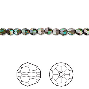 bead, swarovski crystals, crystal passions, blue zircon red magma, 4mm faceted round with 0.9mm hole (5000). sold per pkg of 144 (1 gross).