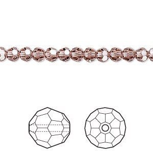 bead, swarovski crystals, crystal passions, blush rose, 4mm faceted round (5000). sold per pkg of 12.