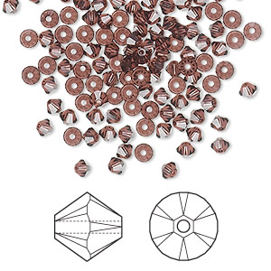 bead, swarovski crystals, crystal passions, burgundy, 3mm xilion bicone (5328). sold per pkg of 144 (1 gross).