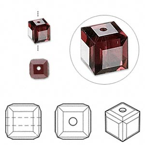 bead, swarovski crystals, crystal passions, burgundy, 6x6mm faceted cube (5601). sold per pkg of 6.