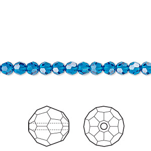 bead, swarovski crystals, crystal passions, capri blue, 4mm faceted round (5000). sold per pkg of 12.