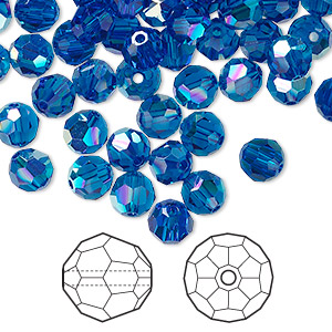 bead, swarovski crystals, crystal passions, capri blue ab, 6mm faceted round (5000). sold per pkg of 144 (1 gross).