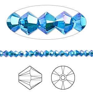 bead, swarovski crystals, crystal passions, capri blue ab2x, 3mm xilion bicone (5328). sold per pkg of 144 (1 gross).