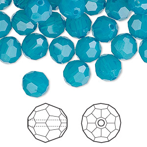 bead, swarovski crystals, crystal passions, caribbean blue opal, 8mm faceted round (5000). sold per pkg of 144 (1 gross).