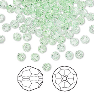 bead, swarovski crystals, crystal passions, chrysolite, 4mm faceted round (5000). sold per pkg of 144 (1 gross).