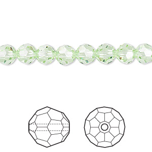 bead, swarovski crystals, crystal passions, chrysolite, 6mm faceted round (5000). sold per pkg of 12.