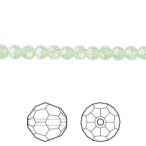 bead, swarovski crystals, crystal passions, chrysolite opal, 4mm faceted round (5000). sold per pkg of 12.