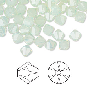 bead, swarovski crystals, crystal passions, chrysolite opal, 6mm xilion bicone (5328). sold per pkg of 360.