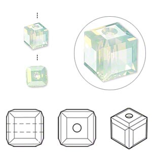 bead, swarovski crystals, crystal passions, chrysolite opal, 6x6mm faceted cube (5601). sold per pkg of 6.