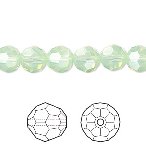 bead, swarovski crystals, crystal passions, chrysolite opal, 8mm faceted round (5000). sold per pkg of 288 (2 gross).