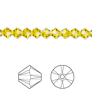 bead, swarovski crystals, crystal passions, citrine, 5mm faceted bicone (5301). sold per pkg of 144 (1 gross).