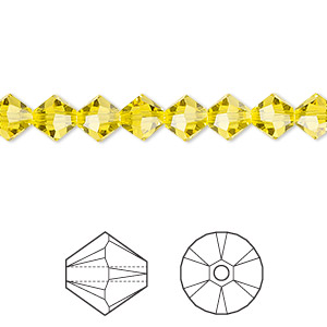 bead, swarovski crystals, crystal passions, citrine, 6mm faceted bicone (5301). sold per pkg of 144 (1 gross).