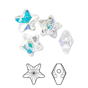 bead, swarovski crystals, crystal passions, crystal ab, 12x12mm faceted star (5714). sold per pkg of 4.